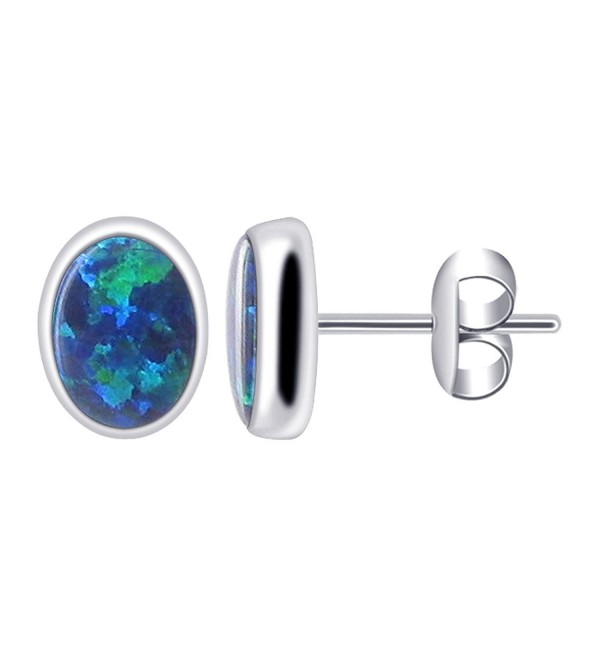 Gem Avenue 925 Sterling Silver Oval Created Blue Opal Gemstone Post back Stud Earrings - CK114P37YA3