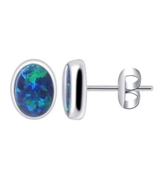 Gem Avenue 925 Sterling Silver Oval Created Blue Opal Gemstone Post back Stud Earrings - CK114P37YA3