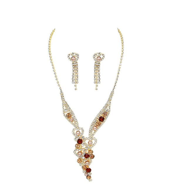 Rosemarie Collections Women's Faux Pearl and Sparkling Crystal Fashion Jewelry Set - C712NUW45W5