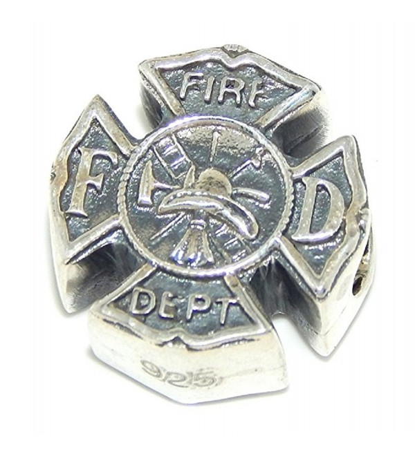 "Solid 925 Sterling Silver ""Fireman's Shield"" Charm Bead - CG12NVDXIG0"