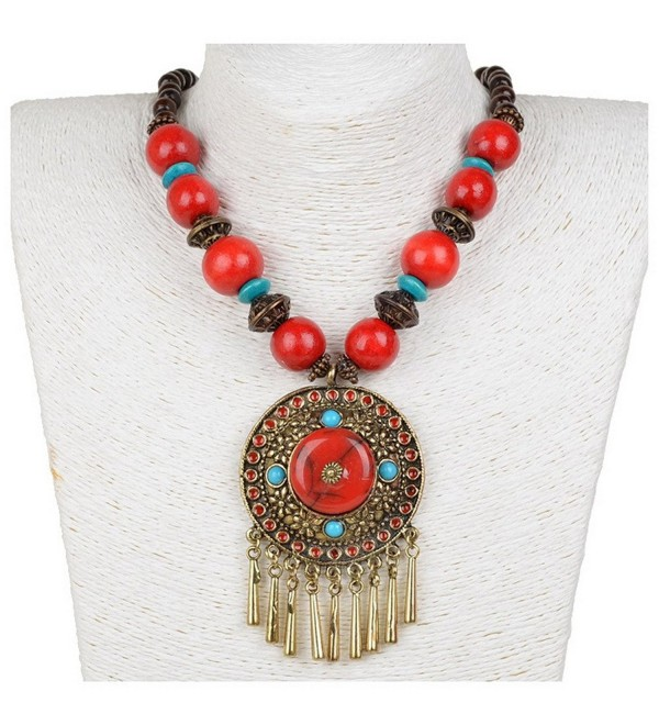 Coogain Statement Necklace Pendant Hollowed Bib Collar Charms Fringe Wood Beads Necklaces Colorful - Red - C017Z7D297K