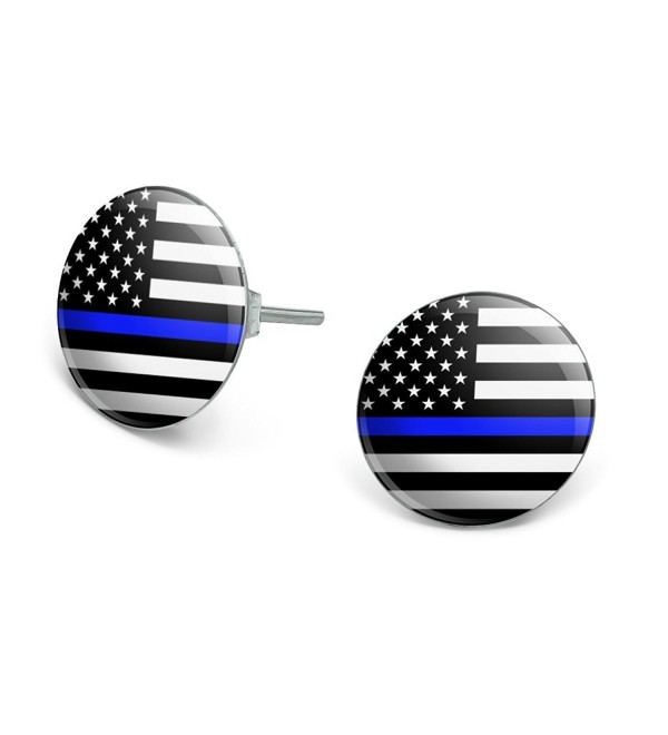 Thin Blue Line American Flag Novelty Silver Plated Stud Earrings - C91865NCXRR