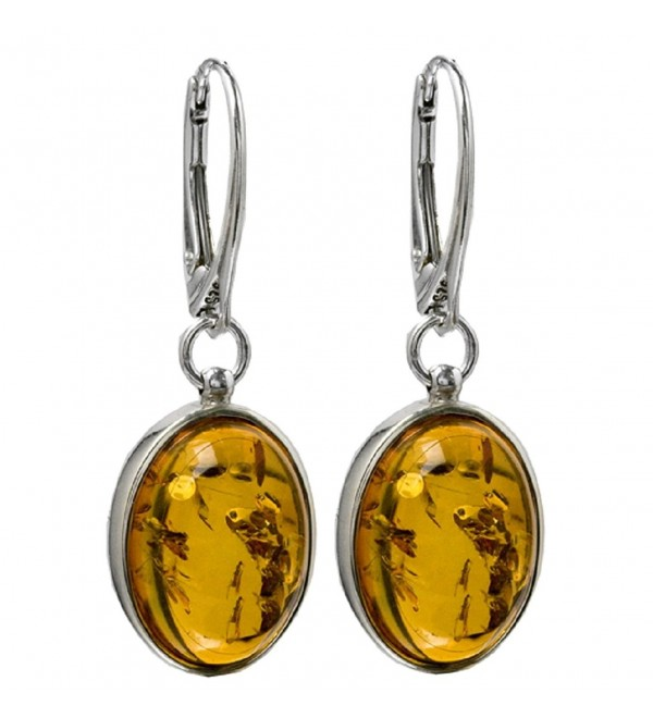 Honey Amber Sterling Silver Oval Popular Leverback Earrings - CS121EG4R3L