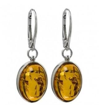Honey Amber Sterling Silver Oval Popular Leverback Earrings - CS121EG4R3L