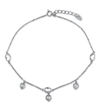 "BERRICLE Rhodium Plated Sterling Silver Cubic Zirconia CZ Open Heart Charm Anklet 9""+1"" Extender - CT11SEHNM5D"