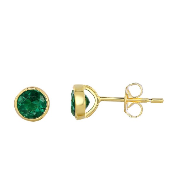 Sterling Silver Bezel Set Created Emerald Stud Earrings - 6 mm - CF12FYROC5T