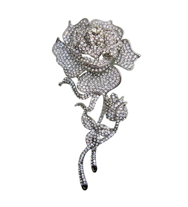 TTjewelry Beautiful Fashion Rose Flower Bud Austrian Crystal Brooch Pin B20475200 - White - C612B40G76R