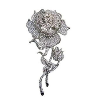 TTjewelry Beautiful Fashion Rose Flower Bud Austrian Crystal Brooch Pin B20475200 - White - C612B40G76R