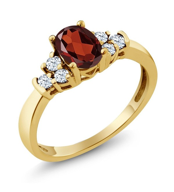 0.79 Ct Oval Red Garnet White Topaz 925 Yellow Gold Plated Silver Ring (Available in size 5- 6- 7- 8- 9) - CS117DRKVV3