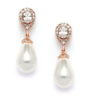 Mariell Rose Gold Pear-Shaped Cubic Zirconia Wedding Earrings for Brides with Bold Soft Cream Pearl Drops - CV12MNL896R