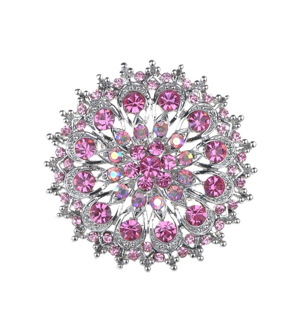 Alilang Pink Rose Rhinestone Crystal Royal Princess Crest Floral Wreath Bouquet Wedding Brooch Pin - CL114V6A7K3