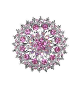 Alilang Pink Rose Rhinestone Crystal Royal Princess Crest Floral Wreath Bouquet Wedding Brooch Pin - CL114V6A7K3
