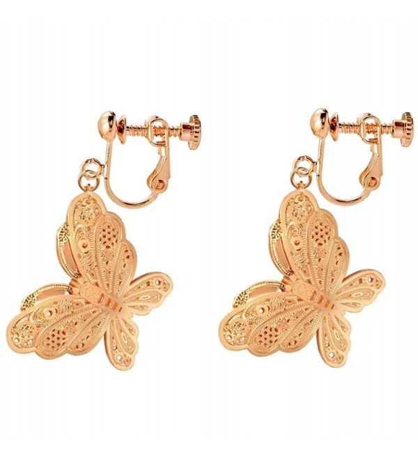 Clip On Earrings Butterfly Earrings Dangle No Piercing Rose Gold Plated Proms Gift - CH1883WRNOT
