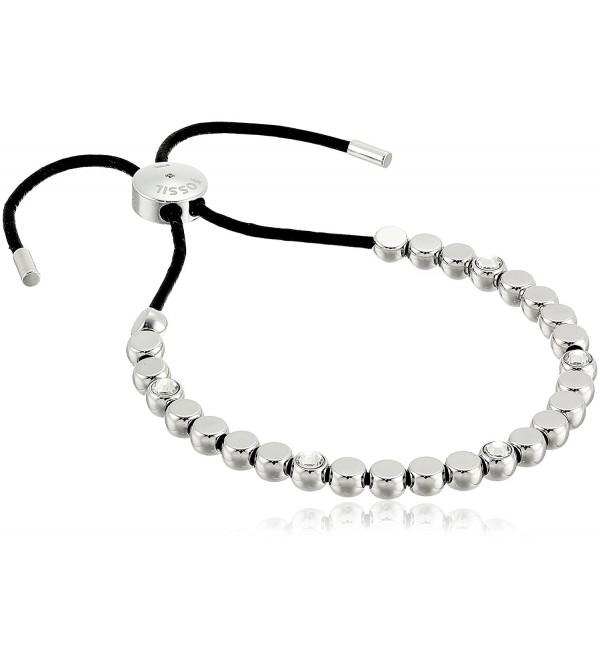 Fossil Vintage Glitz Beaded Silver Bangle Bracelet - C012NRLIVMA