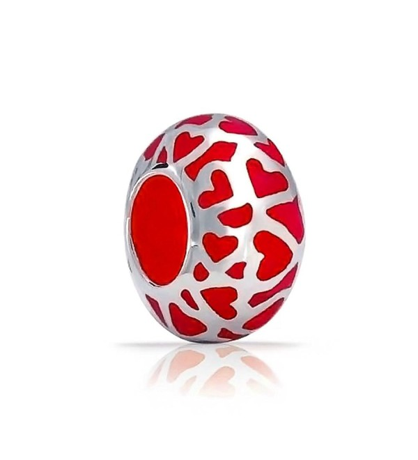 Bling Jewelry Red Enamel Open Love Cut Out Heart Charm Bead .925 Sterling Silver - CM118L0BFB1
