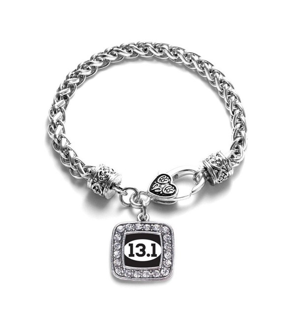 13 1 Half Marathon Runners Clic Silver Plated Square Crystal Charm Bracelet C411ky4u63f