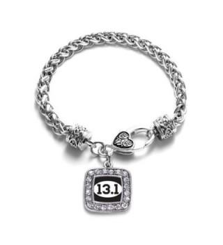 13.1 Half Marathon Runners Classic Silver Plated Square Crystal Charm Bracelet. - C411KY4U63F
