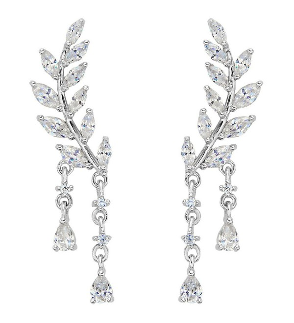 EVER FAITH 925 Sterling Silver CZ Simple Leaves Teardrop Ear Cuff Wrap Sweep Stud Earrings 1 Pair Clear - CO12C6RBT4R