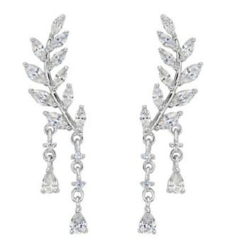 EVER FAITH 925 Sterling Silver CZ Simple Leaves Teardrop Ear Cuff Wrap Sweep Stud Earrings 1 Pair Clear - CO12C6RBT4R