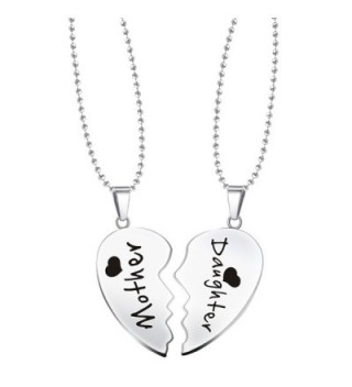 Paris Selection Mother & Daughter 2 Piece Matching Magnetic Set of Split Hearts Necklace - CM12NRK67Z7
