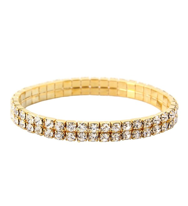Double Tier Swarovski Element Stretch Crystal Bracelet in Gold Tone - C111BC6ZSMN