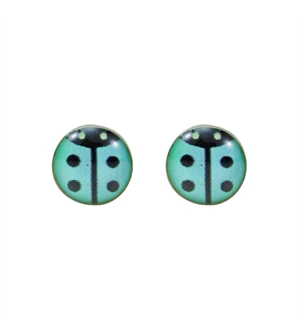 Petite Blue Beetle Lady Bug .925 Sterling Silver Stud Earrings - C4125HSN82N