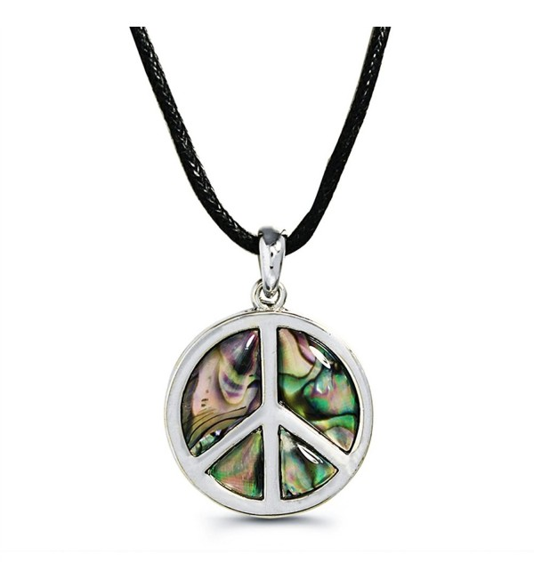"Liavy's Peace Sign Fashionable Necklace - Abalone Paua Shell - 18"" Wild Style Chain - Unique Gift and Souvenir - CA120PDIE01"