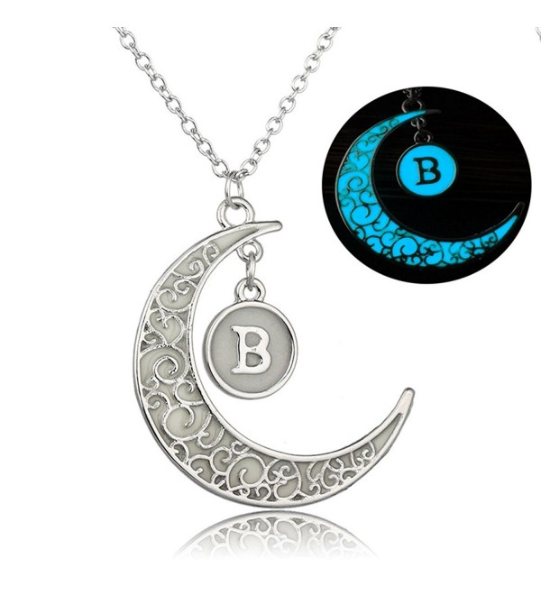 Linsh Initial Necklace Glow in Dark Hollow Out Carved Moon B Letter Pendant Necklace Color: Silver - CE12MG8XKON