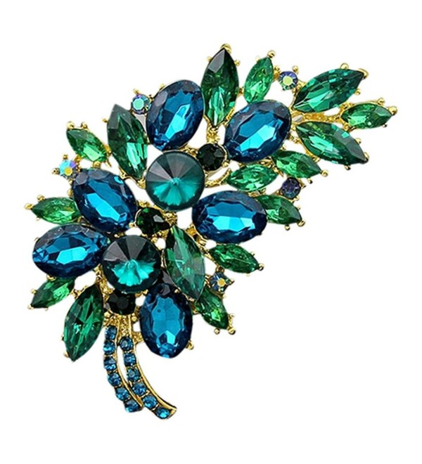 SANWOOD Feather Flower Rhinestone Brooch Broach Pin Banquet Badge Breastpin (Golden + Blue) - C717YT2YIZG