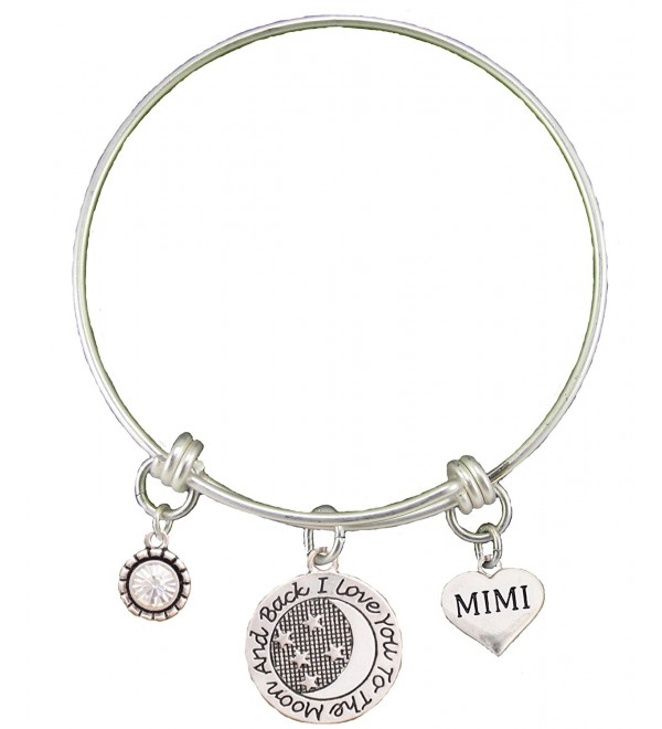 Mimi Love You To The Moon Silver Wire Adjustable Bracelet Heart Jewelry Gift - C412BC1G245