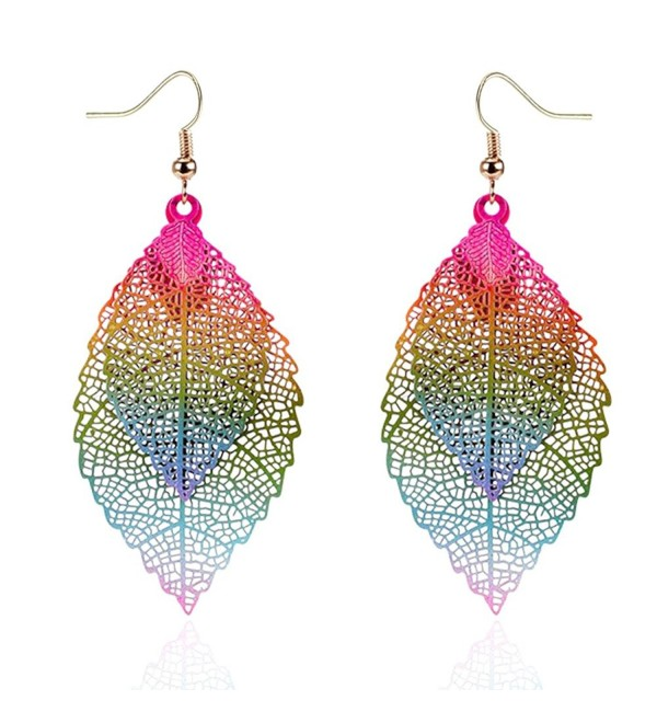 NOVMAY Womens Double Leaf Lightweight Vintage Design Earrings for Women Girls - Colorful - C61880ADMH2