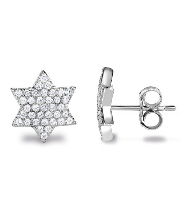 Rhodium Plated Sterling Silver Cubic Zirconia Geometric 6-Point Hexagram Star of David Stud Earrings - CU11UZ1PCVD