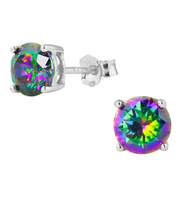 1.7 cttw Sterling Silver Round Cut Deep Set Rainbow Topaz CZ Stud Earrings - C611HGAZIOV