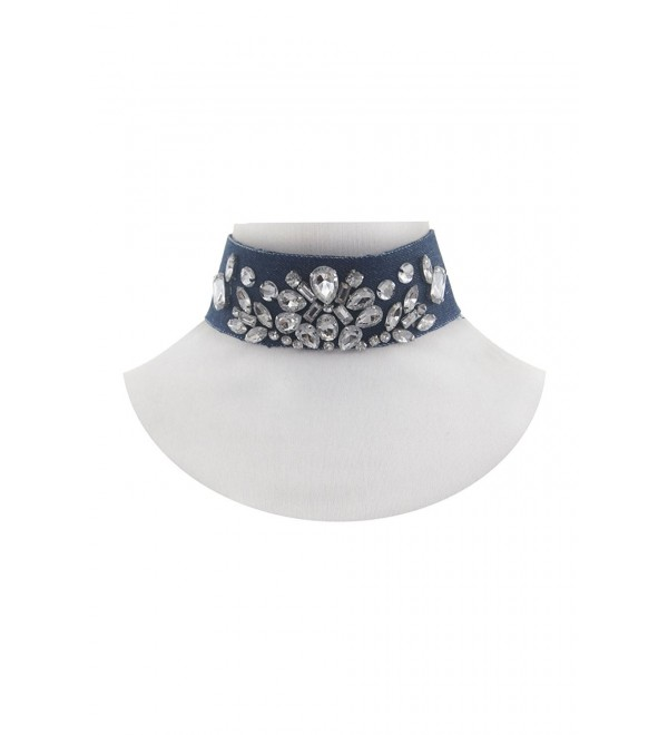 Womens Clear Jeweled Bling Bling Thick Choker Necklace NE7994 - Denim - C012O0J5DNI
