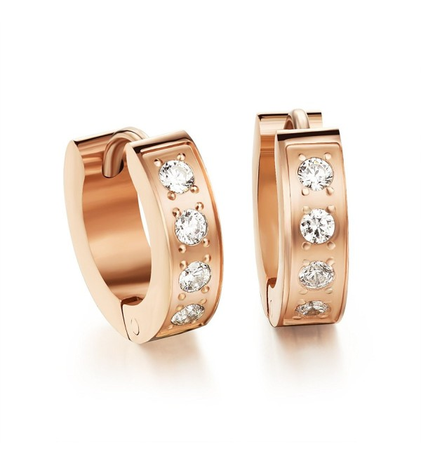 OPK Jewelry Rose Gold/Gold Stainless Steel Cubic Zirconia Hoop Earring Charm Wedding Women Jewelry Gift - CV126XDQ7UL