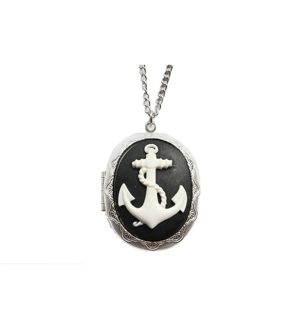 Anchor Locket Necklace- Black & White Nautical Cameo Cabochon in Antique Silver - C6127ESI0P9