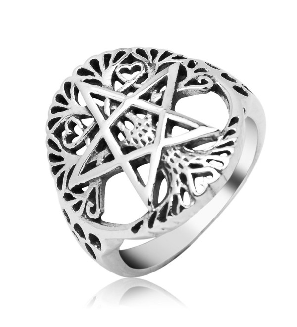 Sterling Silver Filigree Pentagram Pentacle Star Ancient Tree of life Symbol Round Band Ring 7 - C512MAYYM5E