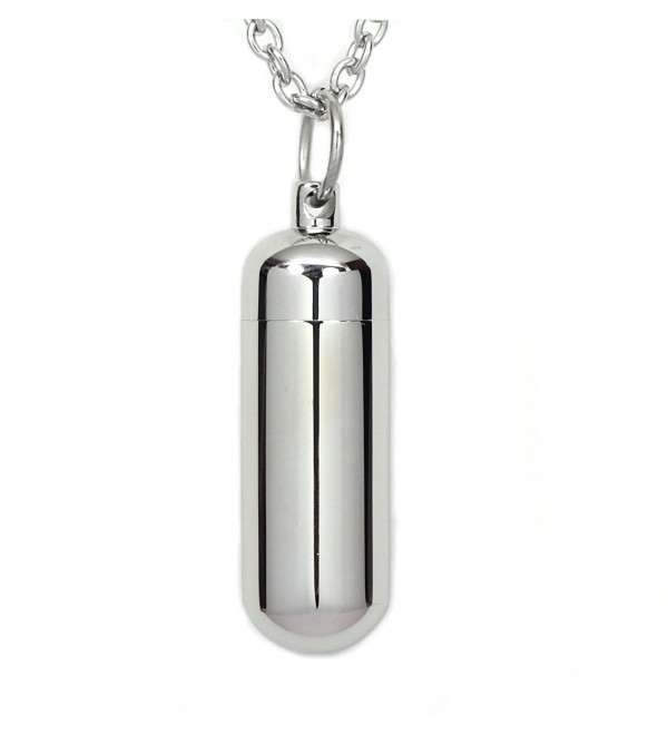 Stainless Steel Capsule Pill Pendant with Glass Tube Cremation Urn Medicine Necklace Fill Kit - CP12CX9MJY7
