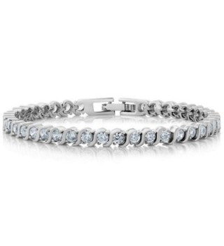 Stunning Round White Cubic Zirconia and Simulated Blue Sapphire Tennis Bracelet - White - CN11PZ2RL8J