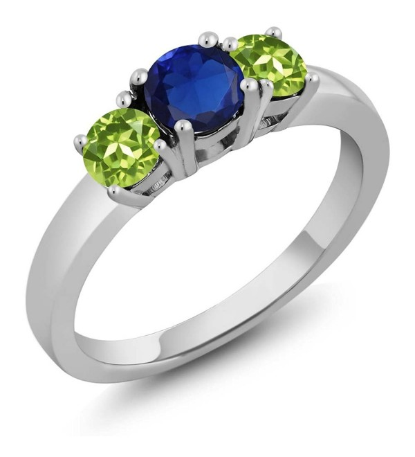 Simulated Sapphire Peridot Sterling 3 Stone - CD11H0CDDPH
