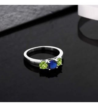 Simulated Sapphire Peridot Sterling 3 Stone in Women's Statement Rings