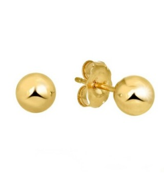 JewelStop 14k Real Yellow Gold Stud Ball Earrings- Gold Friction Backs - 5 mm - CP11Y700GEB