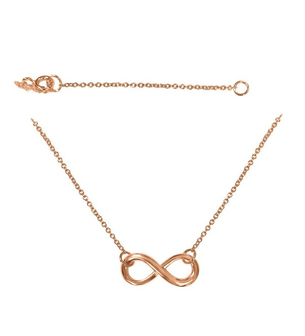Infinity Necklace Sterling Silver 925 - Silver- Rose or Yellow Gold Plated - Adjustable - CU12832KRDN