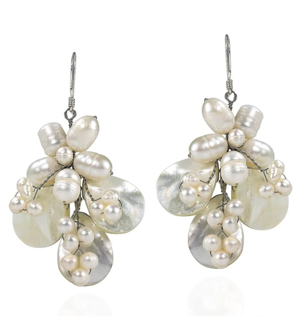 Butterfly White Mother of Pearl and Cultured Freshwater Pearl .925 Silver Earrings - CF127YWGDY5