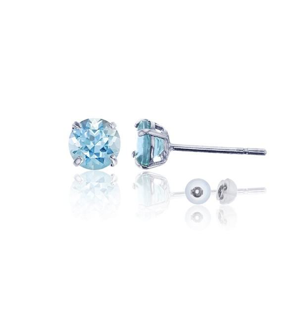 14K White Gold 4.00mm Round Stud Earring - Aquamarine - CN187ICZQRR