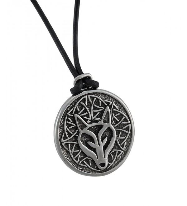 Deva Designs Celtic Wisdom Wolf Head Necklace Pendant Pewter - CF114VTZJ09