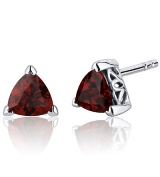 2.00 Carats Garnet Trillion Cut V Prong Stud Earrings in Sterling Silver Rhodium Nickel Finish - CR116ULJKNX
