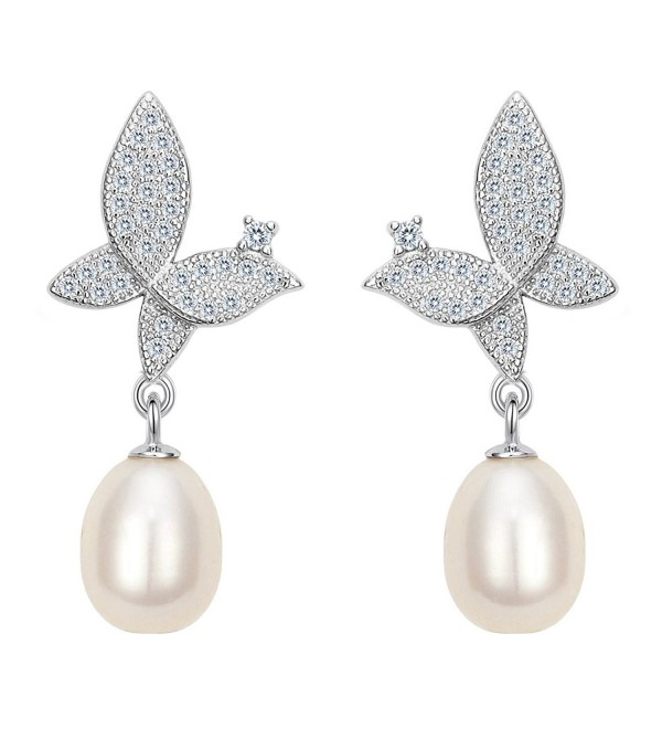 EleQueen 925 Sterling Silver CZ Cream Freshwater Cultured Pearl Teardrop Butterfly Bridal Drop Earrings - CM17YANIE2T