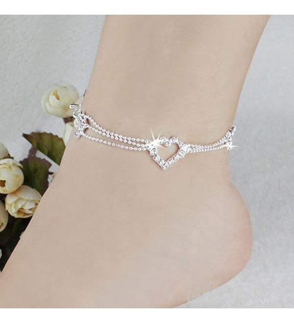 VANKER 1Pc Stylish Lady Crystal Rhinestone Silver Plated Heart Shape Ankle Chain Anklet - CC121MOPVFX