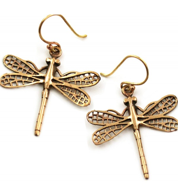Bronze Filigree Dragonfly Earrings Drop Dangle Fish Hook Thailand Made Jewelry - C612BAP10Y9